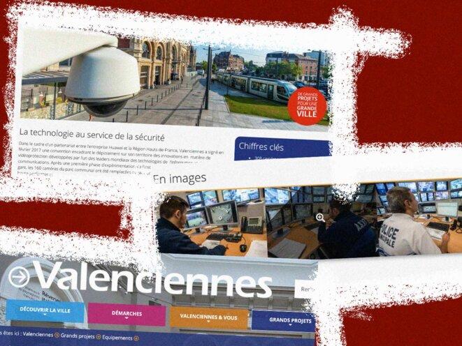 Captures d'écran du site de la mairie de Valenciennes qui vante les équipements de la ville offerts par Huawei. © Photo illustration Mediapart
