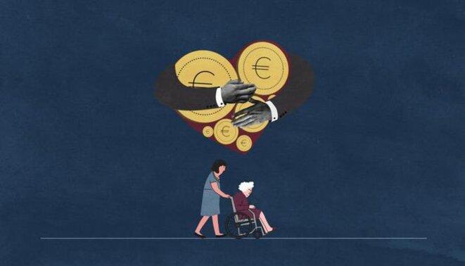 El cuidado de los mayores se ha convertido en un gran negocio para algunas multinacionales. © Alexia Barakou/Investigate Europe