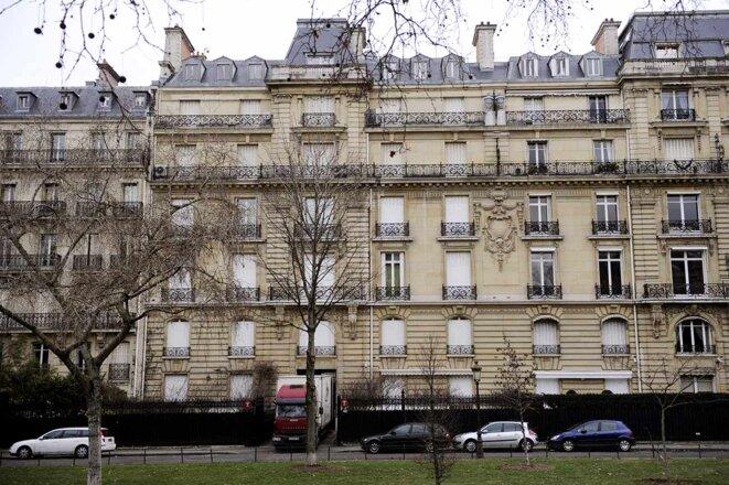 Paris, le 14 février 2012. L'immeuble de l'avenue Foch fait partie des biens considérables amassés en France par Teodorin Obiang. © Photo Eric Feferberg / AFP