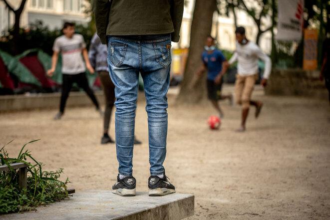 Mineurs isoles à Paris en juillet 2020. © Photo Julie               Limont / Hans Lucas via AFP