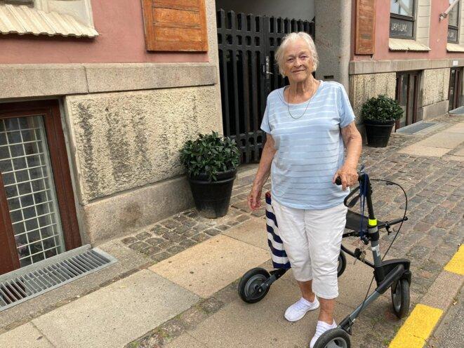Lotti, 86 ans, vaccinée contre le Covid-19, comme 100 % des Danois de son âge. © RLS