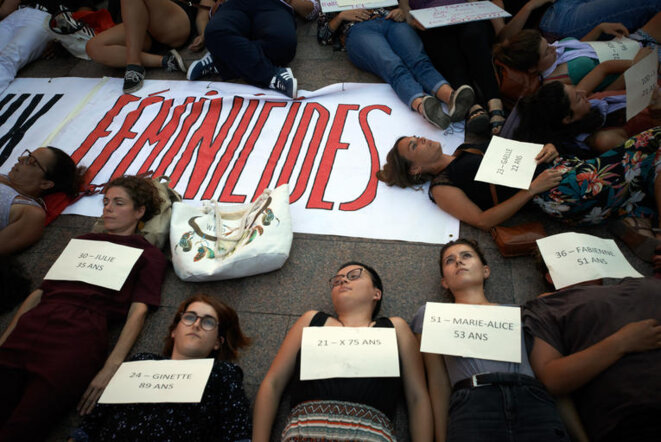 A September 2019 protest in Toulouse, S-W France, to draw attentiion to femicides which were estimated that year to total up to 149. © Alain Pitton/NuPhoto AFP