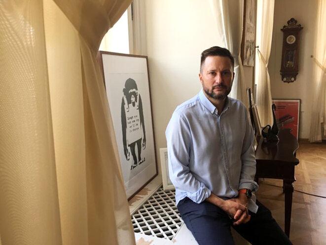Matúš Vallo, 43ans, maire de Bratislava. © Photo Prune Antoine pour Mediapart