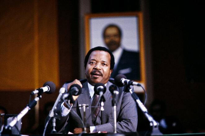 Le président camerounais Paul Biya lors d'une visite officielle à Paris, le 7 février 1985. © Photo AFP