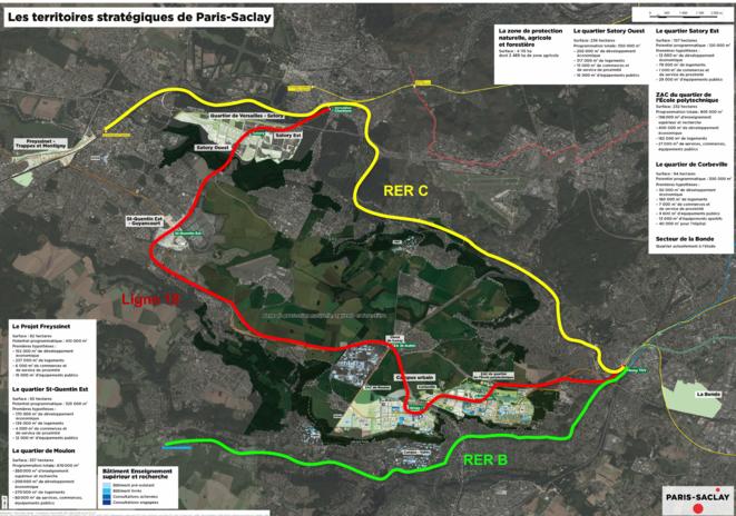 Les territoires stratégiques de Paris-Saclay.