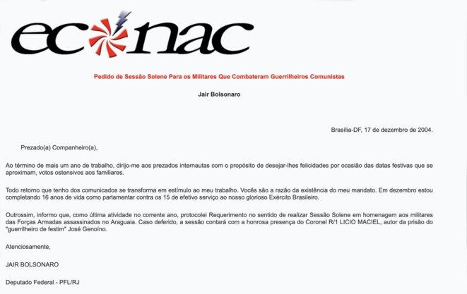 """Lettre publiée par le site internet brésilien neonazi """" Econac """". © DR"""