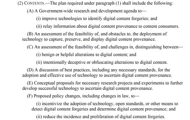 Extrait du texte instituant le National Deepfake and digital Provenance Task Force. (cliquez sur l'image pour y accéder)