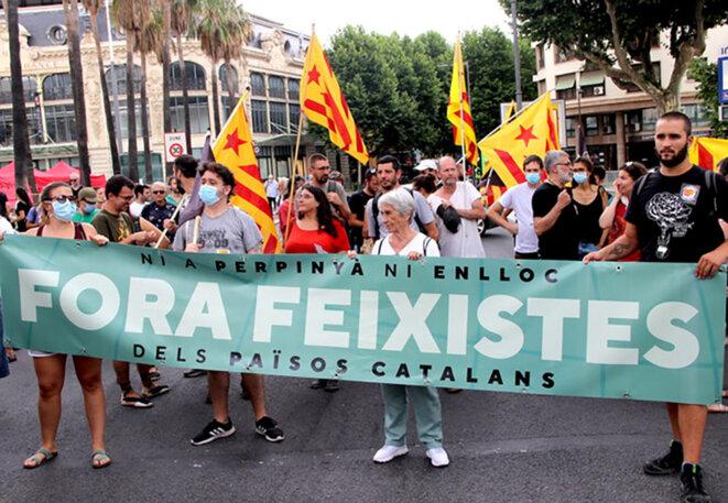 Manifestation des gauches en marge du congrès du RN à Perpignan, le 3 juillet 2021. © Photo Emmanuel Riondé pour Mediapart