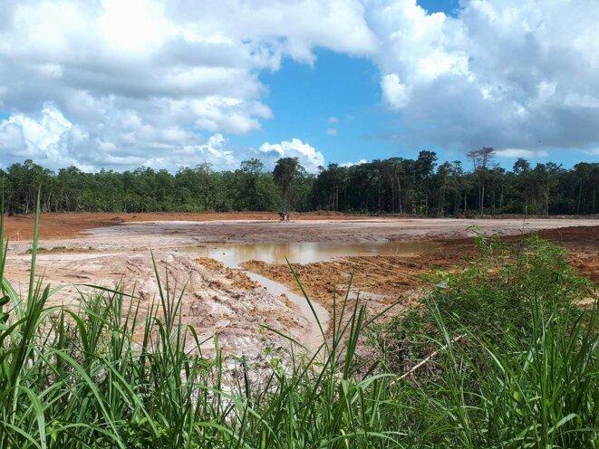 Le chantier de la centrale du Larivot, en Guyane, le 10 juillet 2021. Photo Guyane Nature Environnement