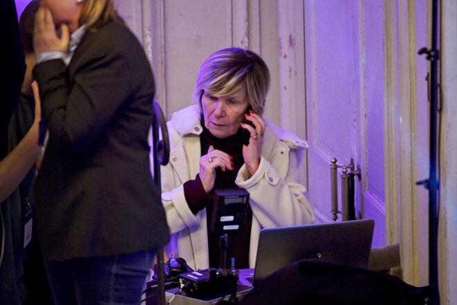 Michèle Marchand dans les coulisses du meeting de Rachida Dati en présence de Nicolas Sarkozy, lors de la campagne pour les élections municipales à Paris, le 9 mars 2020. © Photo Alain Guilhot / Divergence-images