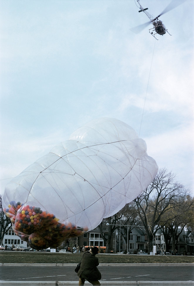 Christo and Jeanne-Claude , 42,390 Cubic Feet Package, Minneapolis, Minnesota, 1966 © Photo: Carroll T. Hartwell  © 1966 Estate of Christo V. Javacheff
