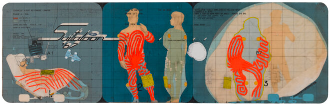 Archigram, Étude, 1968 Collages sur carton, 22,7 x 73,8 cm © Archigram © Georges Meguerditchian - Centre Pompidou, MNAM-CCI /Dist. RMN-GP