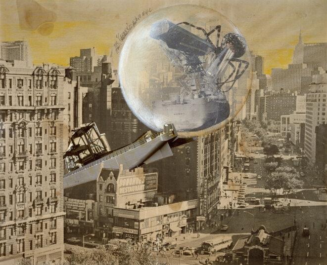Klaus Pinter, The Cocoon, 1971  Photomontage composé d'un tirage offset, de tirages argentiques, de zip, rehausssés de crayons de couleur, 51,5 x 63,5 cm © Adagp, Paris, 2020 © Photo Centre Pompidou, MNAM-CCI/Georges Meguerditchian/Dist. RMN-GP