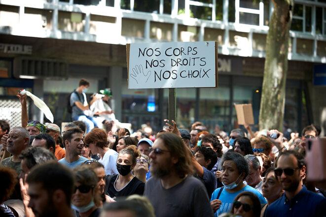 Lors de la manifestation anti-vaccin et anti-pass sanitaire, le 17 juillet 2021 à Toulouse © Alain Pitton