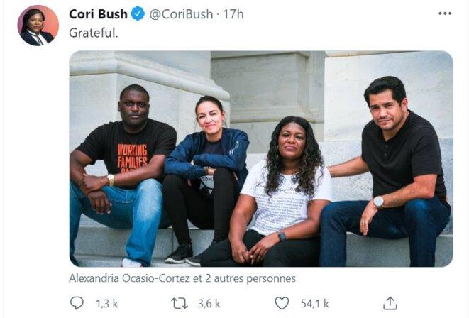 « Reconnaissante », tweet de Mme Cori Bush, Membre du Congrès américain, Représentante du Missouri.