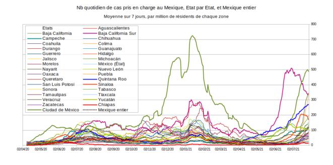 Fig.4 - Nombre quotidien de cas de Covid-19 détectés au Mexique © Enzo Lolo, d'après les données du gouvernement mexicain. Source : https://www.gob.mx/salud/documentos/datos-abiertos-152127