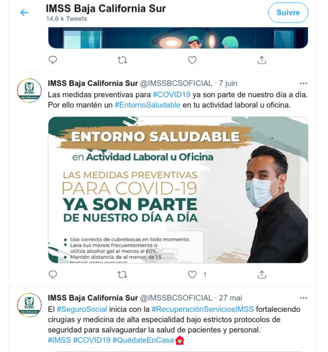 Fig.11 - Compte Twitter de l'IMSS de Basse Californie du Sud. Capture d'écran du 27 juin 2021 © Twitter