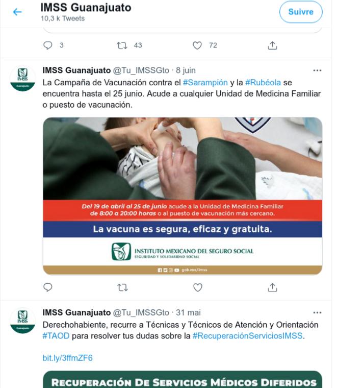 Fig.12 - Compte Twitter de l'IMSS du Guanajuato. Capture d'écran du 27 juin 2021 © Twitter
