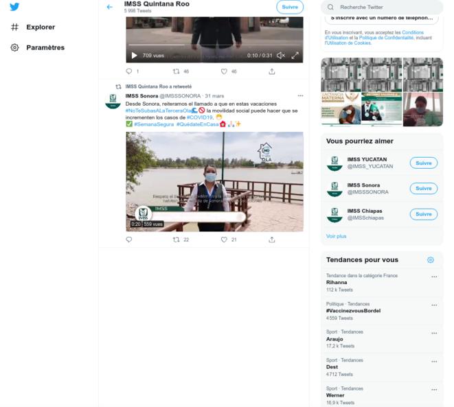 Fig.14 - Compte Twitter de l'IMSS du Quintana Roo. Capture d'écran du 4août 2021 © Twitter