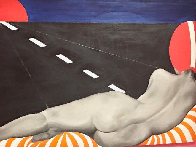 Evelyne Axell, Auto-stop, 1965, huile sur toile, 97 x 146 cm, Collection Philippe Axell, Belgique © Philipe Antoine / Adagp, Paris, 2020. Droits réservés