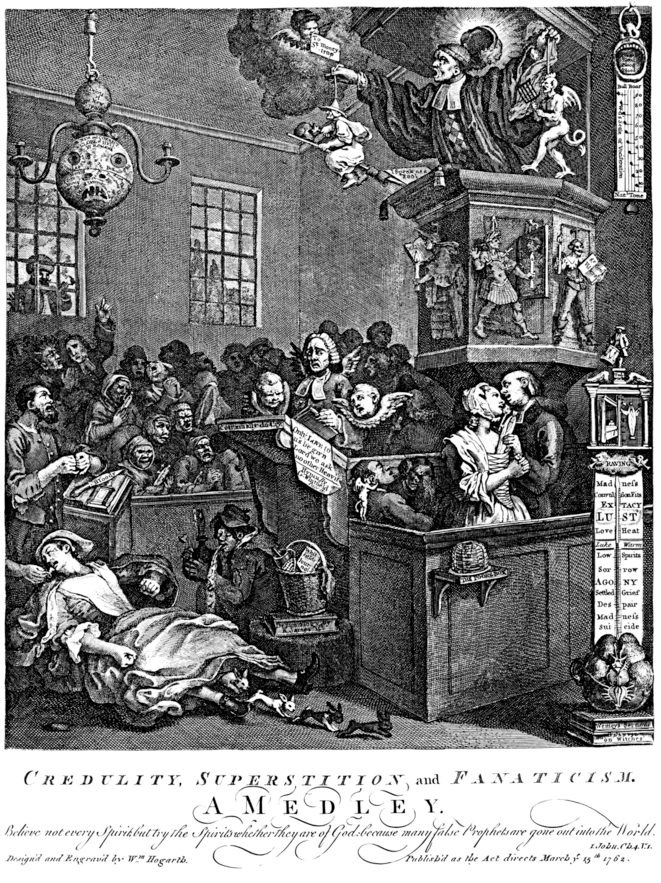«Crédulité, superstition et fanatisme», une gravure de William Hogarth, 1762 (in Bon Pour La Tête). © DR