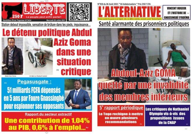 Togo, Les unes des quotidiens Liberté et l'Alternative consacrées à M. Abdul Aziz Goma, dans un état de santé  critique, guetté par une invalidité