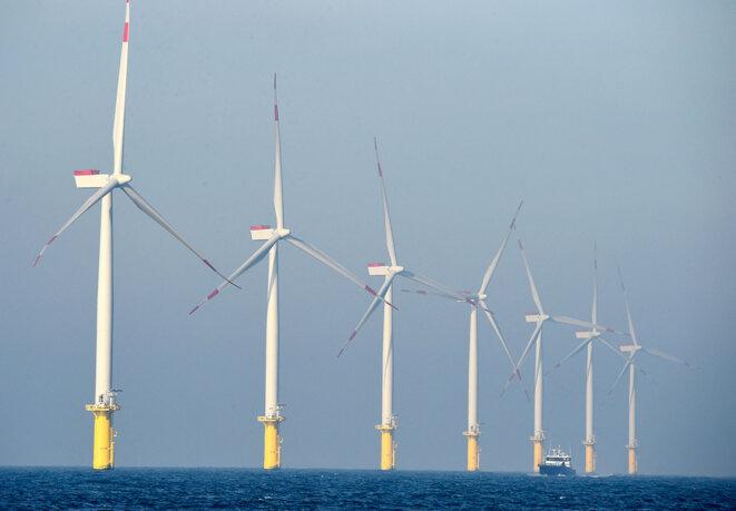 Le parc éolien offshore appartenant à la société énergétique allemande E.ON, près de l'archipel Helgoland en 2015. © Photo Tobias Schwarz / AFP