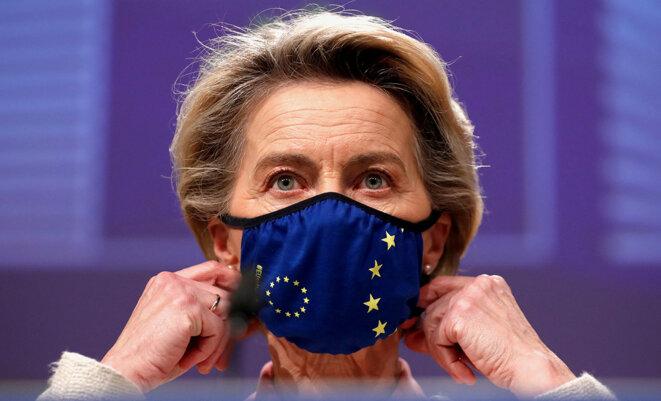 La présidente de la Commission européenne, Ursula von der Leyen, à Bruxelles, le 24 décembre 2020. © Photo Francisco Seco / Pool / AFP