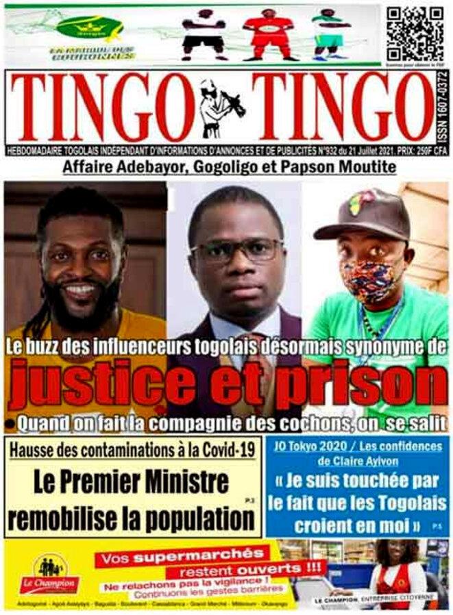 L'affaire Adebayor, Gogoligo, Papson Moutite, a la une du N°932 du 21 Juillet 2021 de l'hebdomadaire Tingo-Tingo