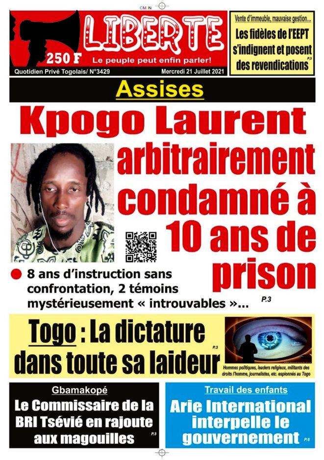 L'affaire Laurent Yao Kpogo à la une du N° 3429 du 21 juillet 2021 du quotidien Liberte