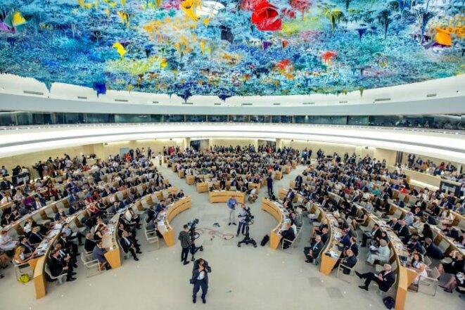 Une vue de la salle des séances du  Comité des droits de l'Homme de l'ONU à Genève