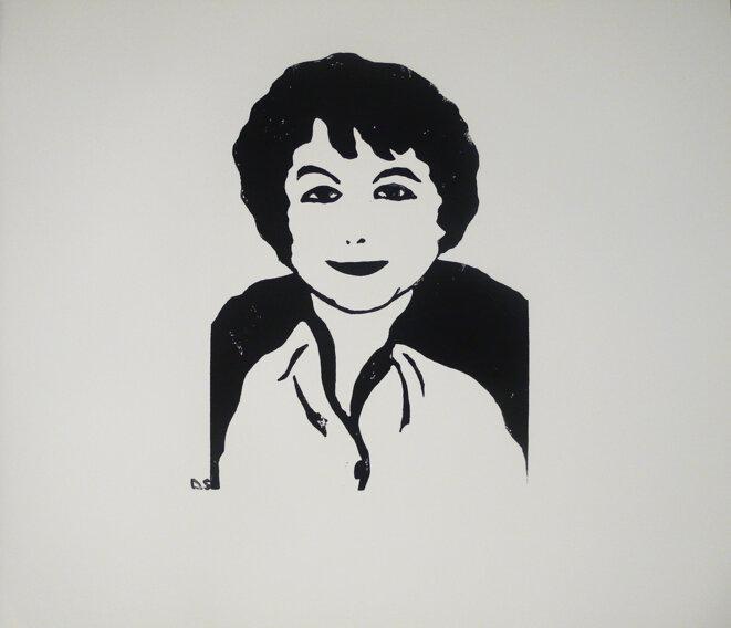 Portrait imaginaire d'Anne-Marie Houdebine par Sophie Degano © Sophie Degano https://www.sophie-degano.com/grace-a-elles