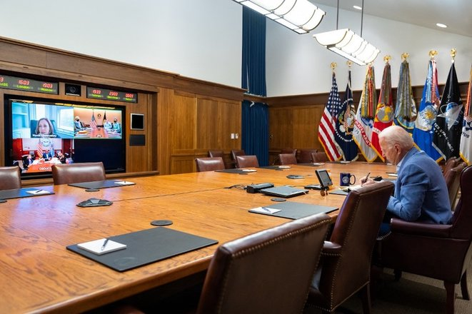 15 août 2021, à Washington. Le président Joe Biden et la vice-présidente Kamala D. Harris prépare l'évacuation de leurs ressortissants, militaires et alliés. © EyePress via AFP