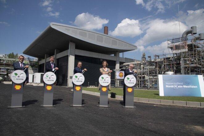 Inauguration d'une unité de production d'hydrogène pilotée par Shell à Wesseling, en Allemagne. 2 juillet 2021. © Malte Ossowski / SVEN SIMON / SVEN SIMON / dpa Picture-Alliance via AFP