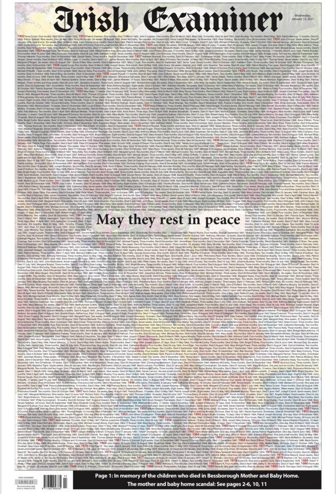 """La une de l'""""Irish Examiner"""" du 13 janvier 2021 est consacrée à tous les enfants décédés à Bessborough Mother and Baby Home."""