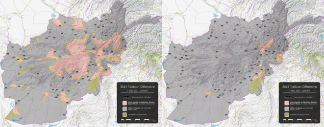 """Cartes de l'offensive talibane au 10 août et au 15 août 2021. Les zones contrôlées par les talibans sont en gris, celles contrôlées par le gouvernement afghan et la coalition internationale en rouge, les zones contestées en vert © Wikimédia, page """"2021 Taliban Offensive"""""""