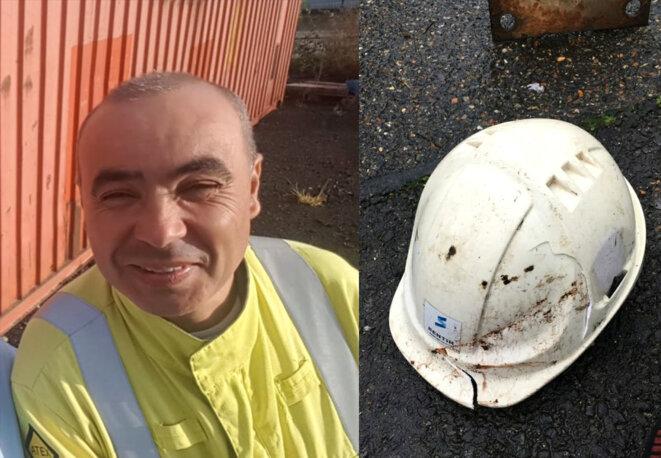 Omar Hamzaoui, terrassier mort à 48 ans, des suites d'un accident du travail. Son casque portait des fissures qui posent question. © Photos DR.
