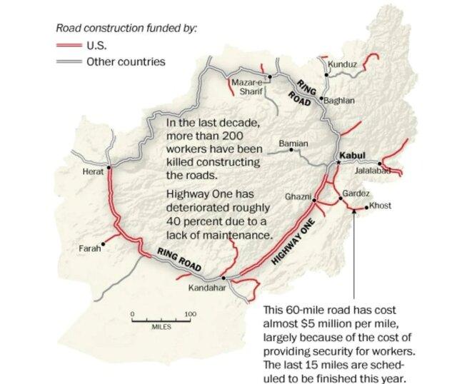 La Ring Road, le réseau de routes reliant les principales villes du pays © Washington Post