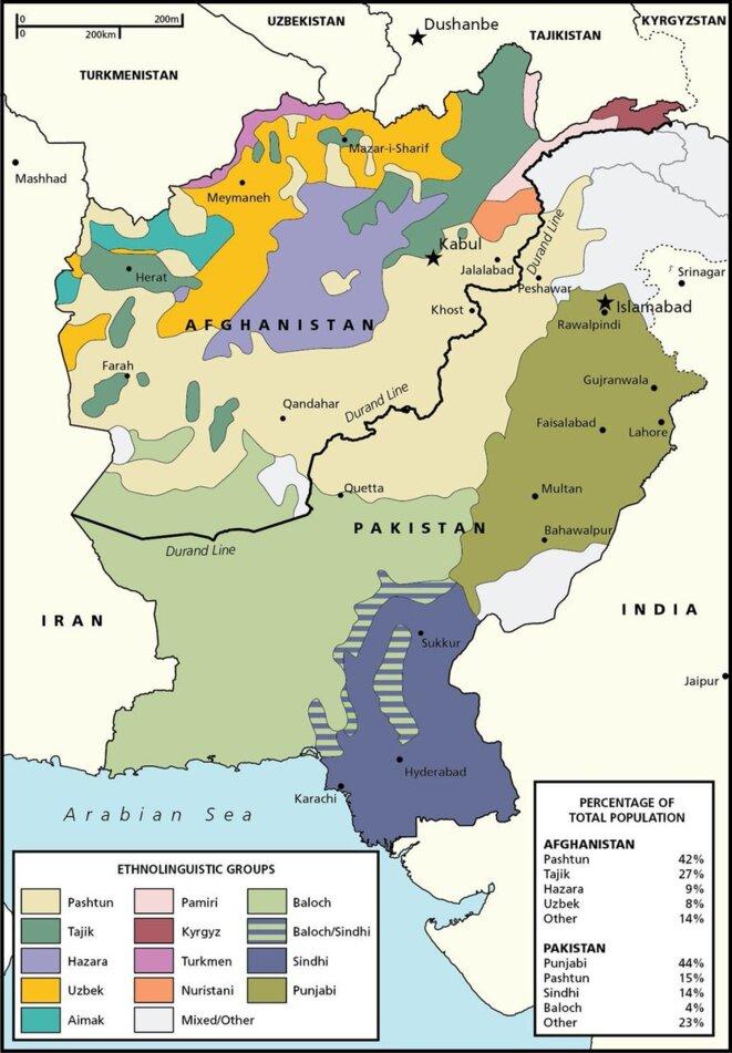 La frontière entre l'Afghanistan et le Pakistan coupe en deux les territoires où vivent les peuples pachtoune et baloutche © ResearchGate