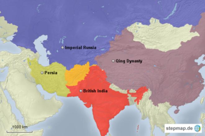 L'Afghanistan, Etat tampon entre la Russie impériale, le Raj britannique et la Perse, à la fin du XIXème siècle © selfstudyhistory.com