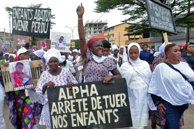 Une marche de femmes contre le troisième mandat d'Alpha Condé le 23 octobre 2019 à Conakry. © Cellou Binani/AFP