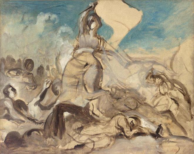 Esquisse préparatoire au tableau La Liberté guidant le peuple » d'Eugène Delacroix / Domaine public © Eugène Delacroix cité par Jaques TESTART