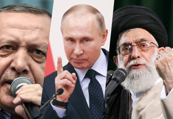 Recep Tayyip Erdogan, Vladimir Poutine et l'Ayatollah Ali Khamenei. © Ozan Kose, Rigory Dukor, Atta Kenare / AFP