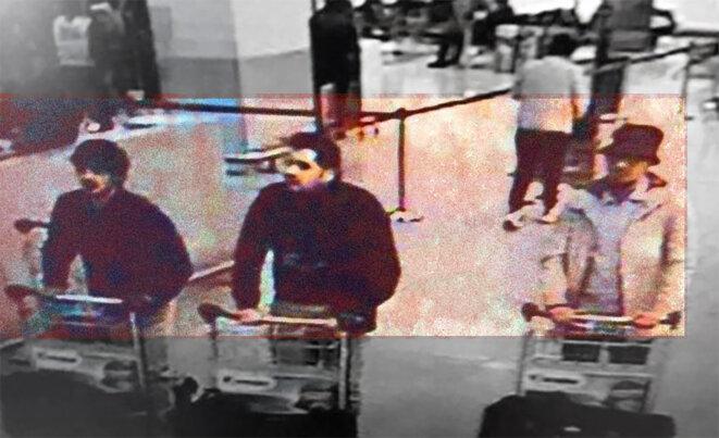 Najim Laachraoui, Ibrahim el-Bakraoui et Mohamed Abrini en train de pousser leurs bagages remplis d'explosifs dans l'aéroport de Zaventem à Bruxelles. © DR