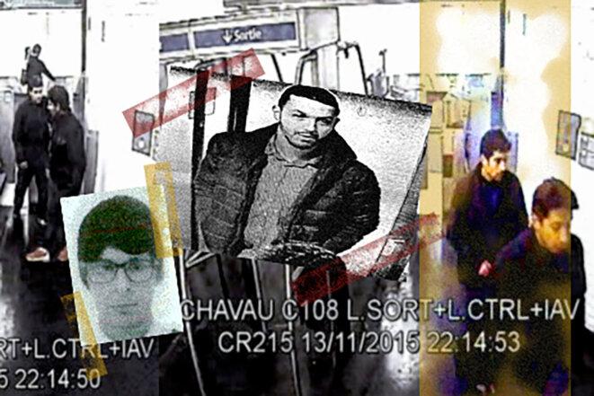 Abdelhamid Abaaoud, Mohamed Abriniet Salah Abdeslam. Au lendemain des attentats du 13-Novembre, les survivants de la cellule terroriste préparent une nouvelle tuerie de masse. © Photomontage Mediapart