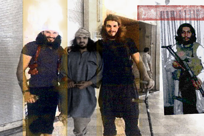 Le convoi de la mort : Foued Mohamed-Aggad, Ismaël Omar Mostefaï et Abdelhamid Abaaoud. © Photomontage Mediapart