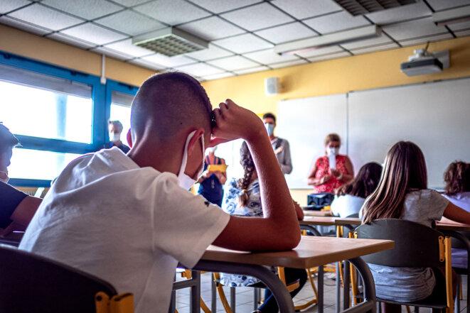 Thuir, le 1er septembre 2020. Lors de la rentrée scolaire dans un collège. © Photo Arnaud Le Vu / Hans Lucas via AFP