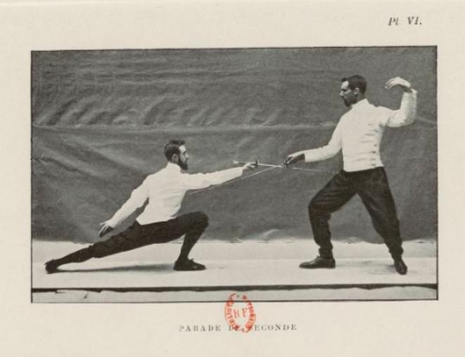 Démonstration de figure dans le Manuel d'escrime, méthode rationnelle (1898) © Ducourtioux – Collection BNF