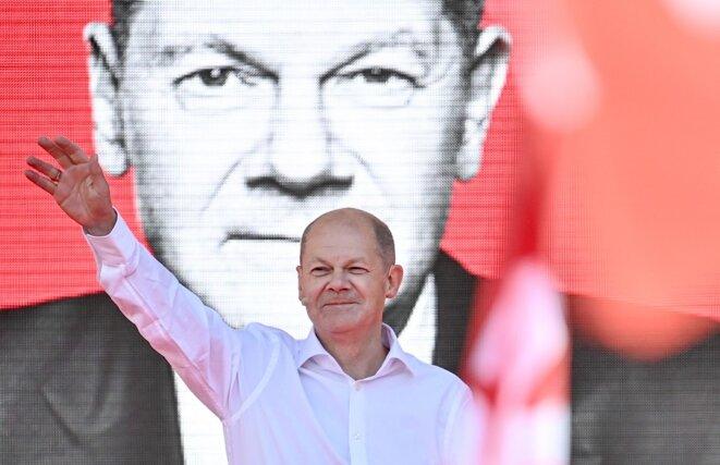 Olaf Scholz, le candidat du SPD, le 27 août 2021 lors d'un meeting de campagne. © Britta Pedersen/dpa-Zentralbild/dpa/AFP