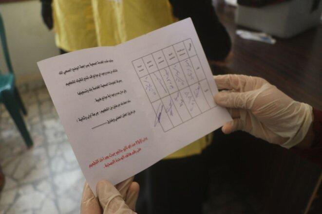 Un certificat de vaccination à Raqqa. © DR